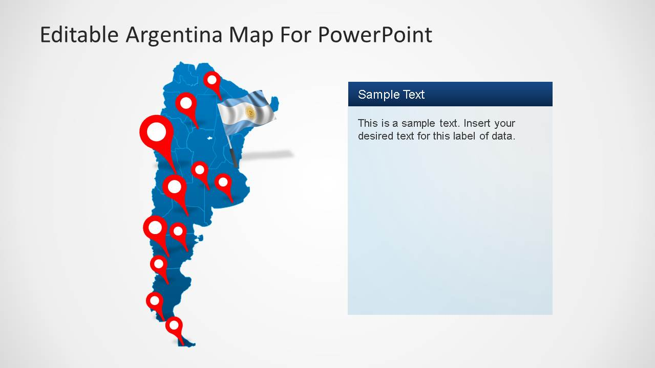 Map of Argentina for PowerPoint with Markers