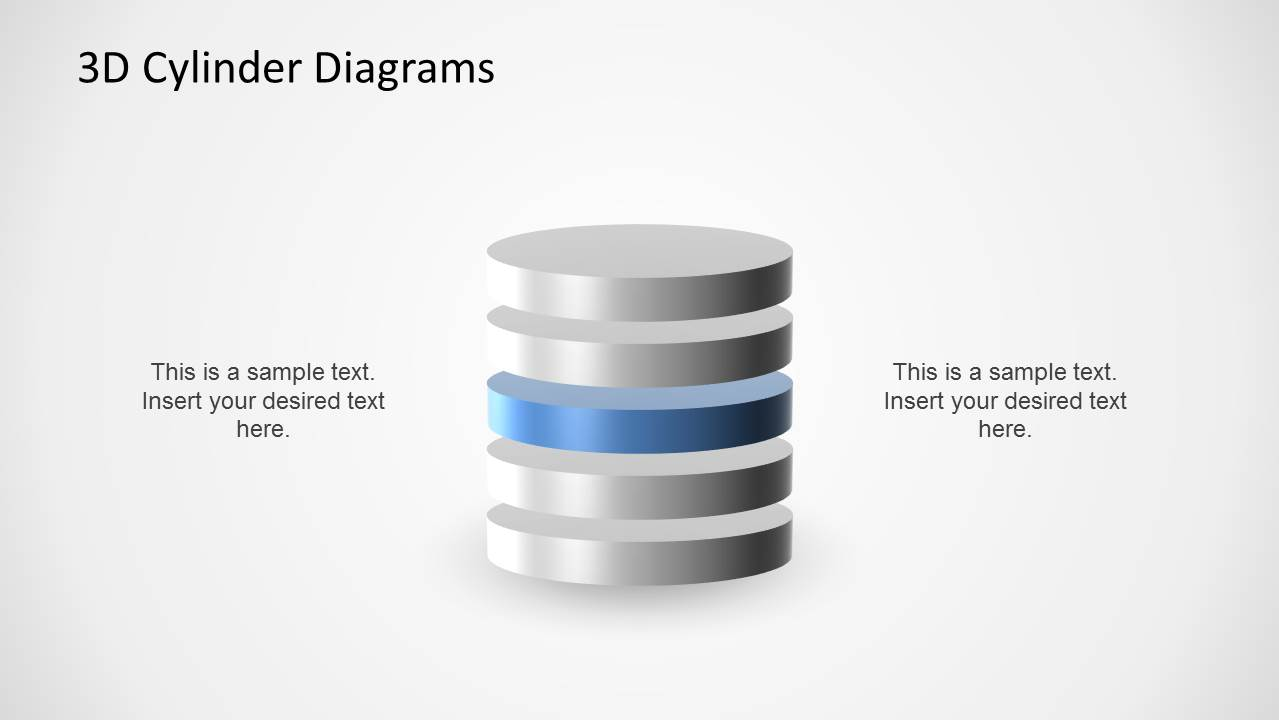 3D Cylinder Diagram Multi-Level for PowerPoint