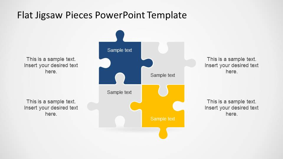 Editable flat jigsaw pieces powerpoint template slidemodel a square created with 4 jigsaw pieces powerpoint shapes toneelgroepblik Choice Image