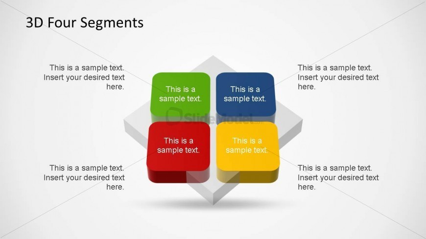 Four Coloured 3D Quadrants Diagram for PowerPoint