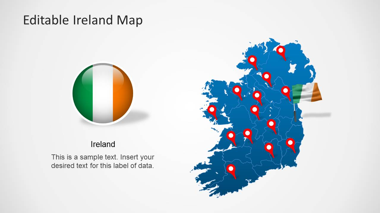 editable ireland map template for powerpoint