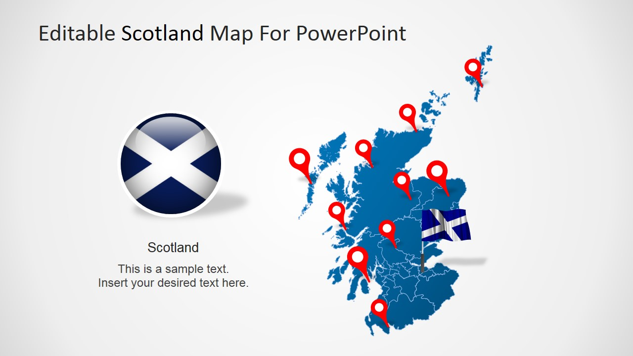 PowerPoint Scotland Map with Flag Icon