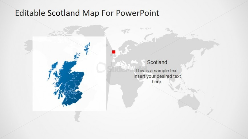 Scotland and the World Map for PowerPoint SlideModel