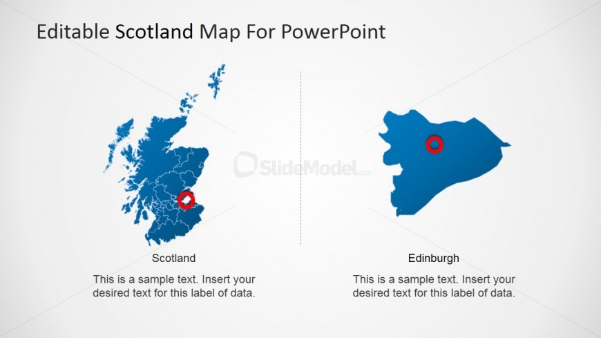 Scotland PowerPoint Map with Capital Star