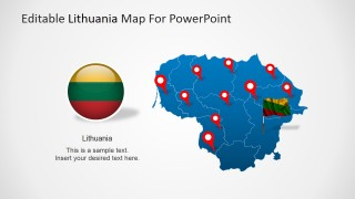 PowerPoint Map of Lithuania with Flag Icon