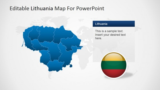 Political Outline of Lithuania with Flag Clipart