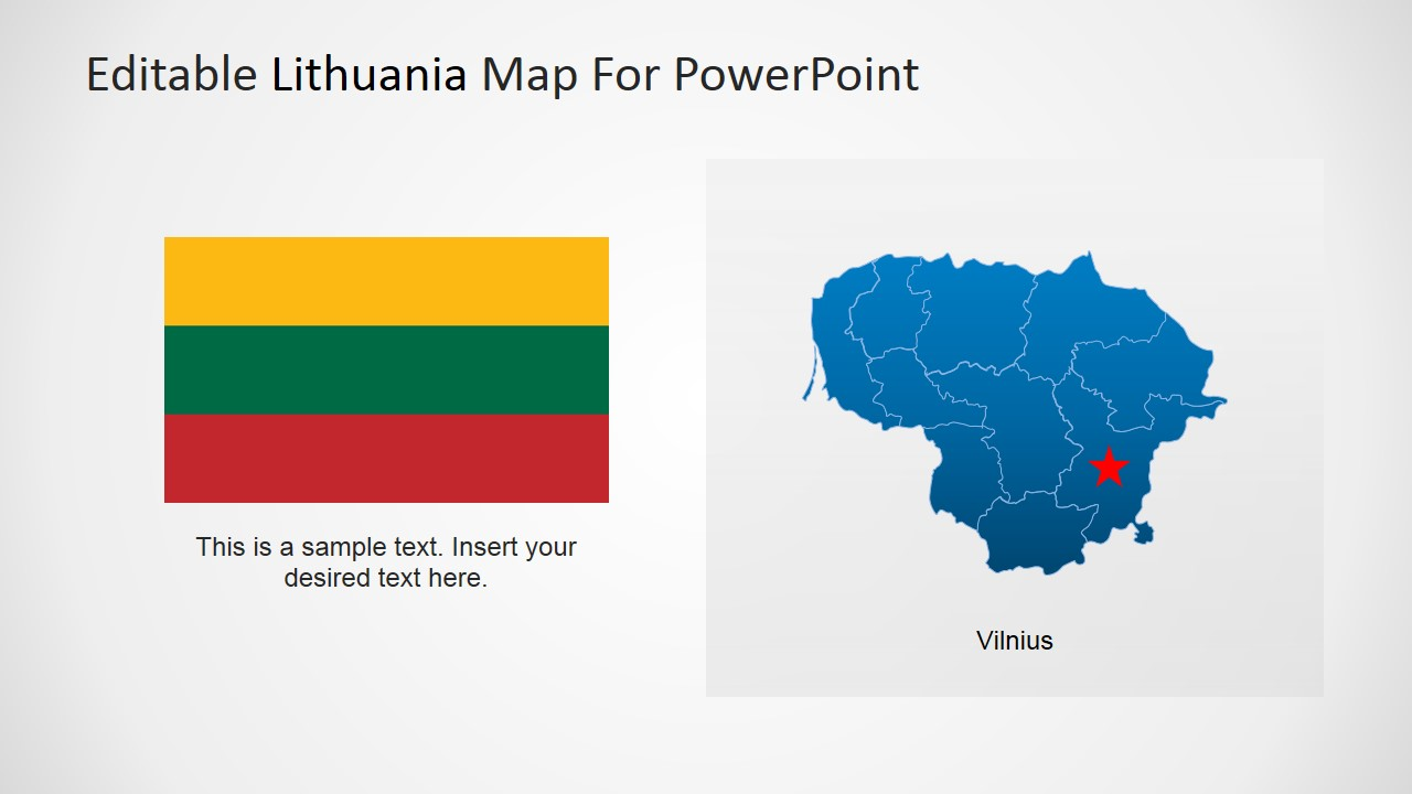 PowerPoint Map of Lithuania and Flag Clipart