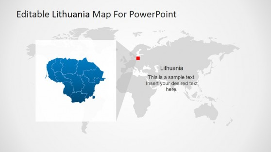 Highlight of Lithuania Map in Europe for PowerPoint