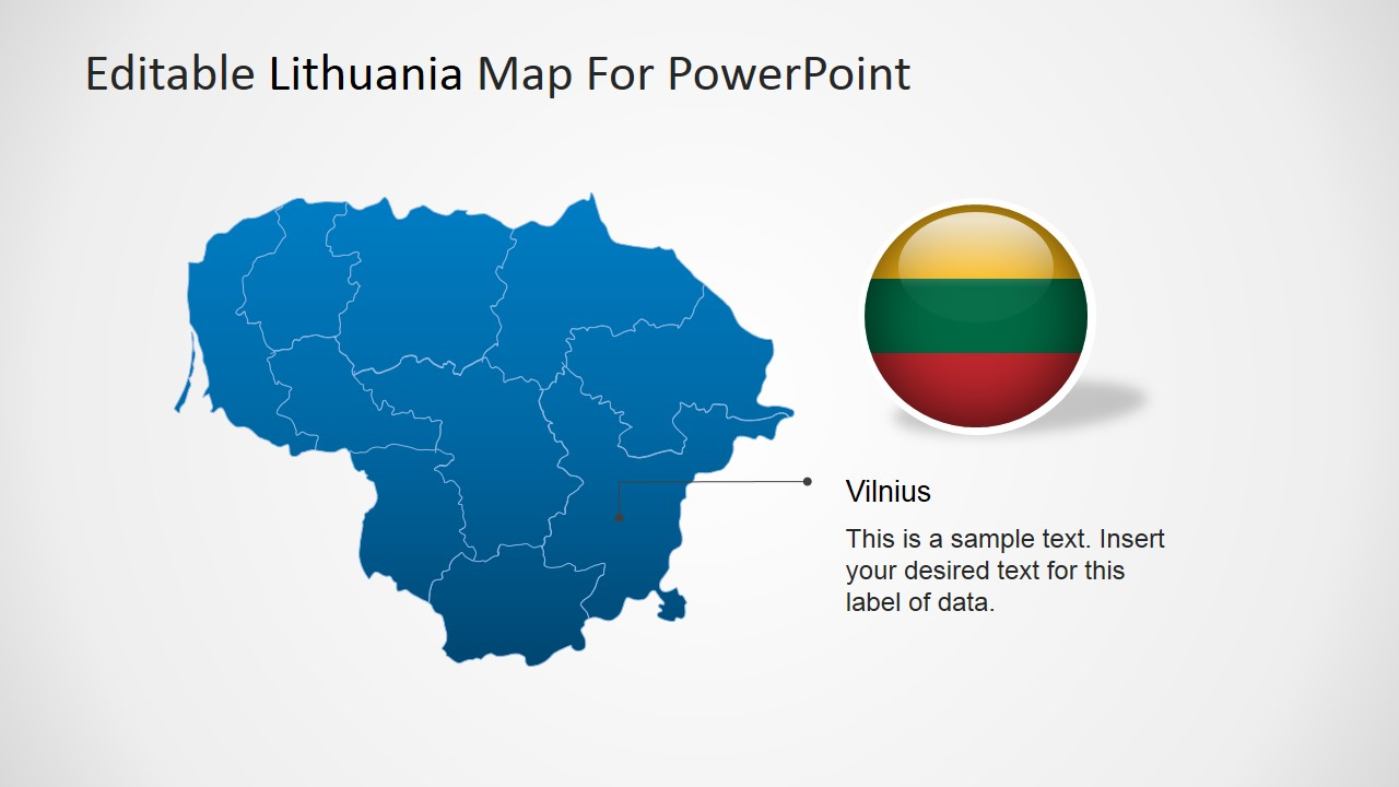 PowerPoint Map of Lithuania with Vilnius Marker