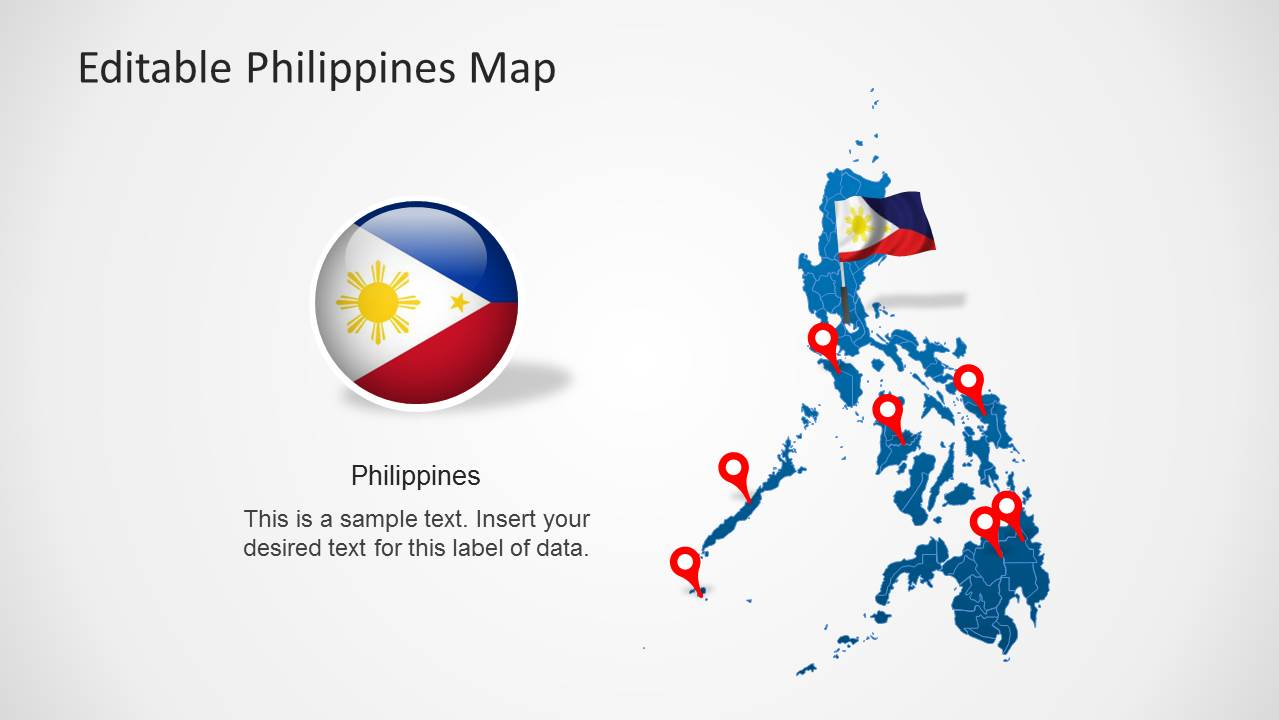 Editable PowerPoint Map of Philippines with Flag Icon and location markers