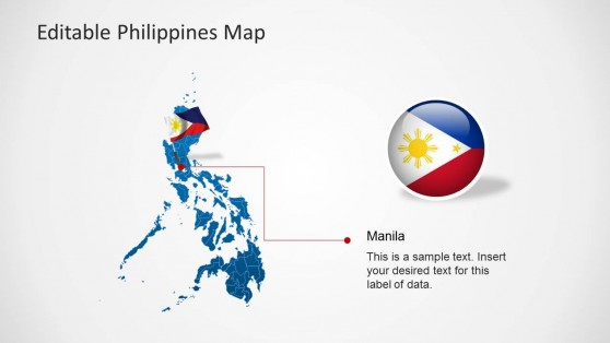 Philippines Map PPT Template with Flag Icon