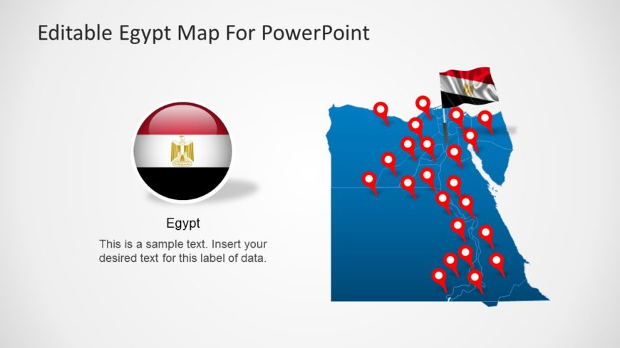 Egypt PowerPoint Map with GPS Location Markers and National Flag Icons