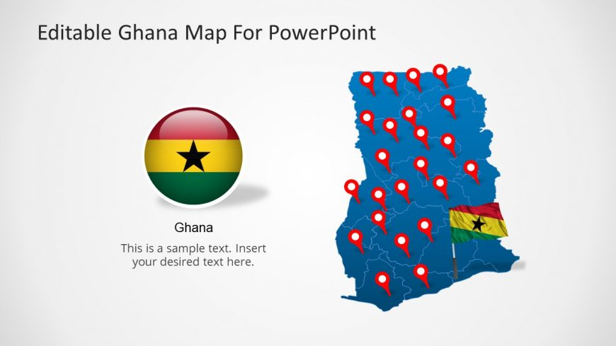 PowerPoint Political Outline Map of Ghana