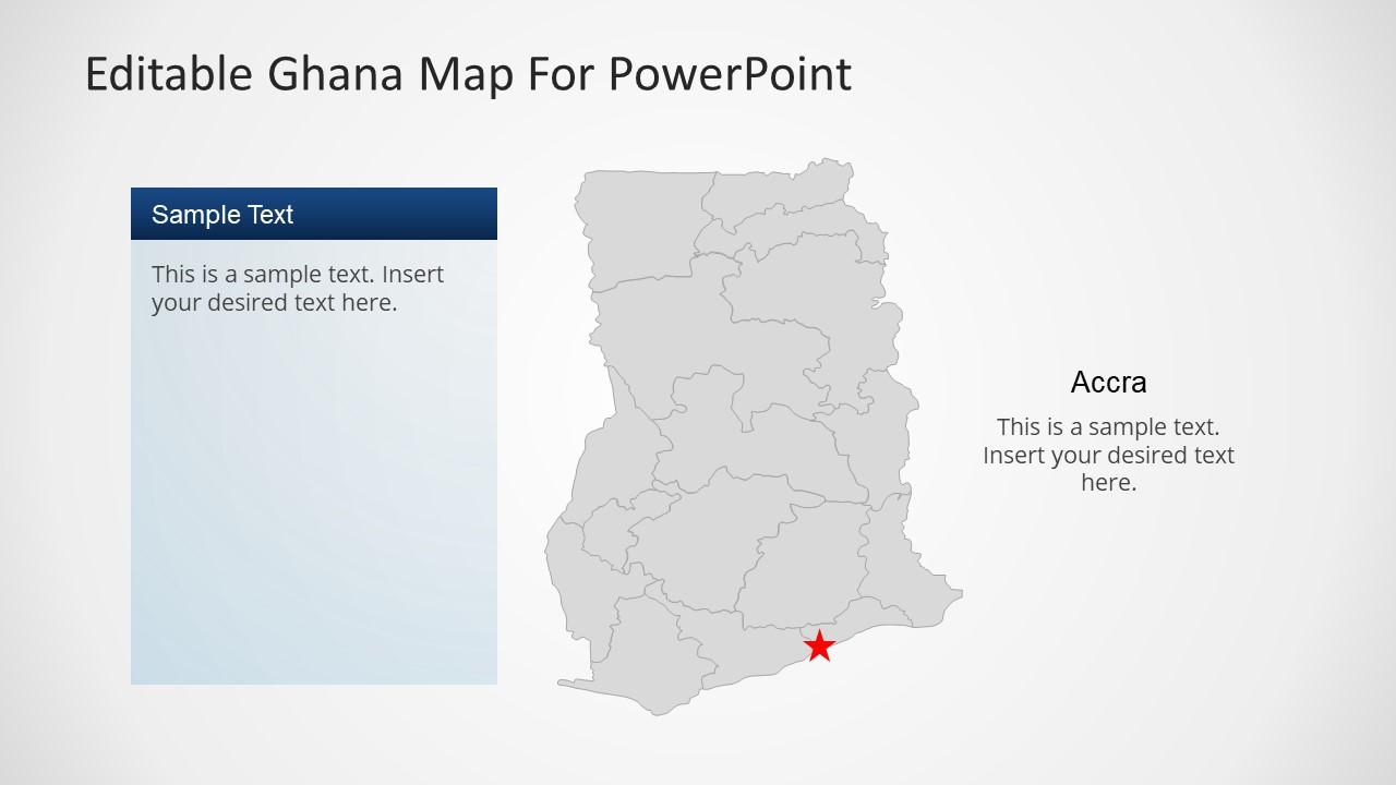 Ghana Map Editable PowerPoint Template SlideModel - Ghana map