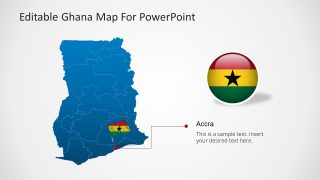 Editable Ghana Outline Map PowerPoint Accra