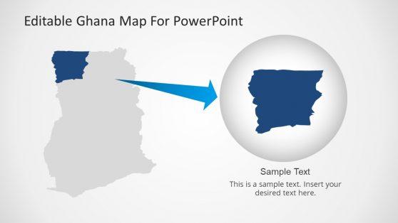 Ghana Map Editable PowerPoint Template with Highlight