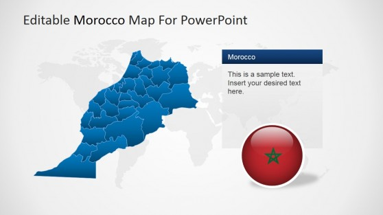 Political Outline Map of Morocco for PowerPoint