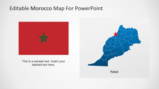 Morocco Flag Icon and Editable PowerPoint Map