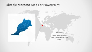 PowerPoint Map of Morocco Highlighted from Worldmap