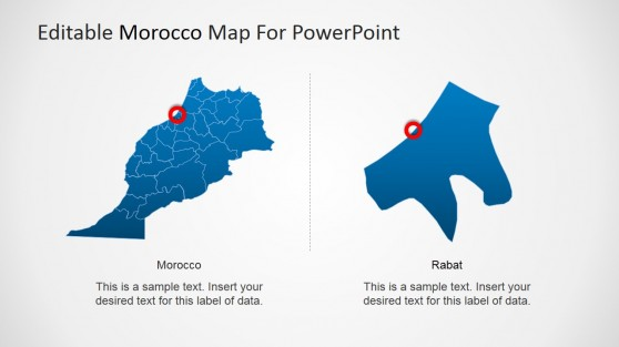 Rabat State and City Marker PowerPoint Map