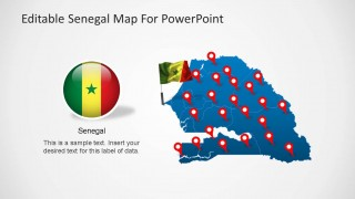 Senegal Editable Map PowerPoint Template with Flag