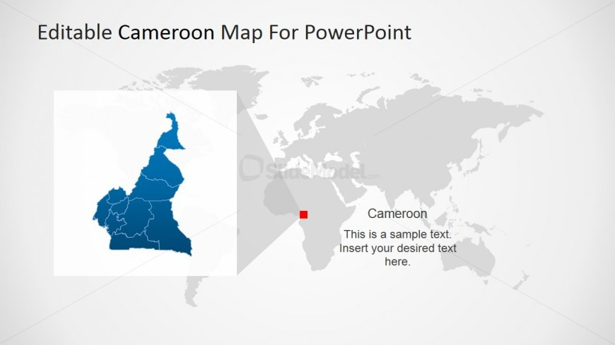 Cameroon Highlight Map in World Map Background - SlideModel