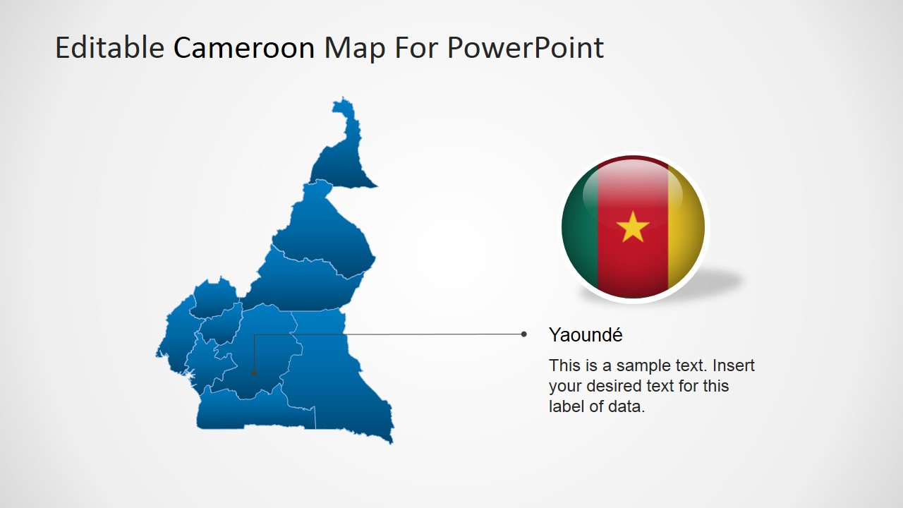 Editable cameroon powerpoint map slidemodel powerpoint map of cameroon with yaound marker ccuart Choice Image