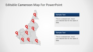 PowerPoint Cameroon Map Outline with Location Markers