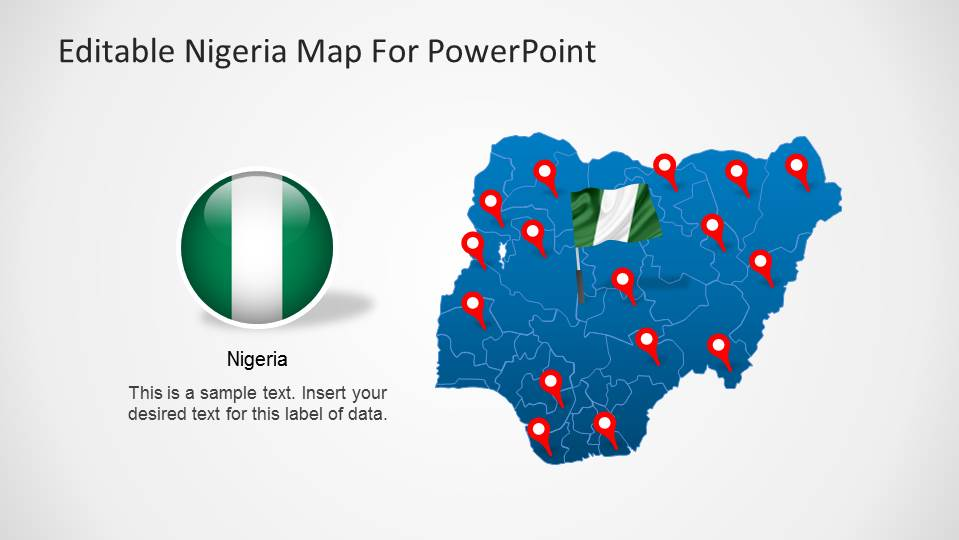 Editable Nigeria PowerPoint Map with 3D Icon