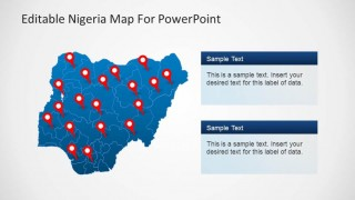 Editable Nigeria PowerPoint Map blue background and GPS Markers