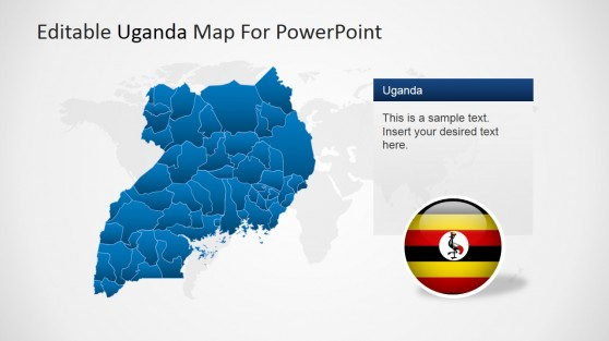 Editable Uganda Map for PowerPoint with Flag Icon