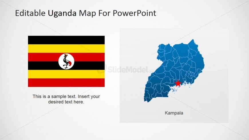PowerPoint Uganda map with National Flag and Kampala Locator