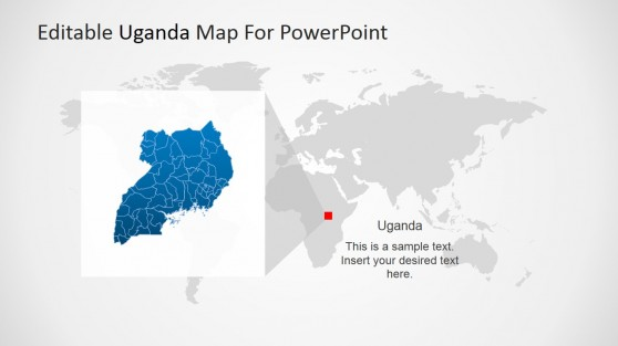 Uganda Map Magnified from African Continent