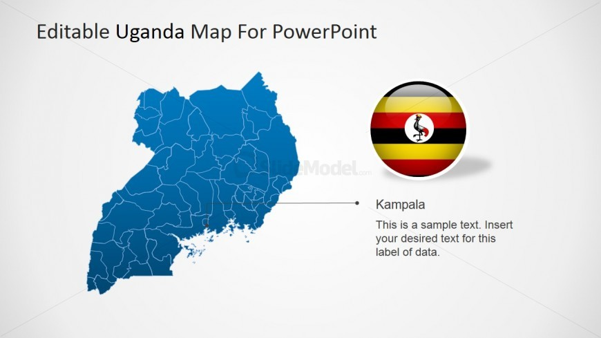Political Uganda Map with Kampala City Marker SlideModel