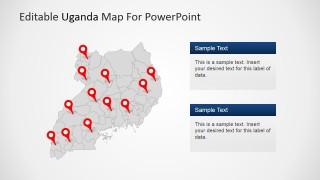 Republic of Uganda Map with GPS Locators
