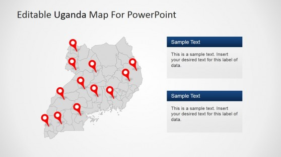 PowerPoint Uganda Map with GPS Location Icons