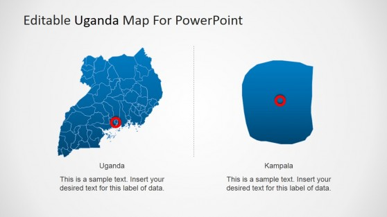 Uganda PowerPoint Map with Kampala Locator and Highlight
