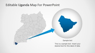 Magnified Uganda State Map for PowerPoint