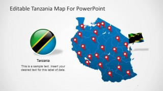 Editable Tanzania PowerPoint Map with Flag Icon