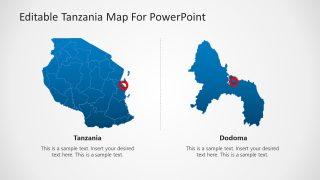 Editable Tanzania PowerPoint Map with Dodoma Capital