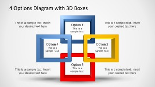 PowerPoint 3D Square Shapes Overlapping Quadrants