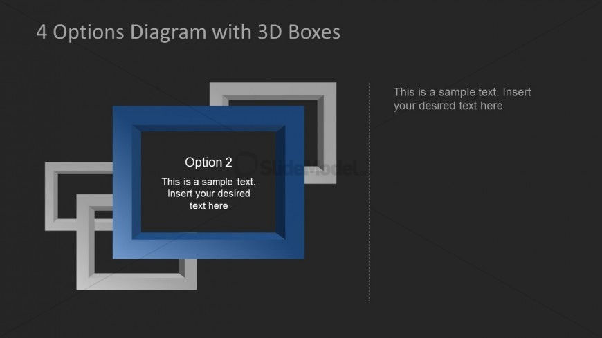 Dark Blue PowerPoint 3D Square Frame highlighted as Second Option.
