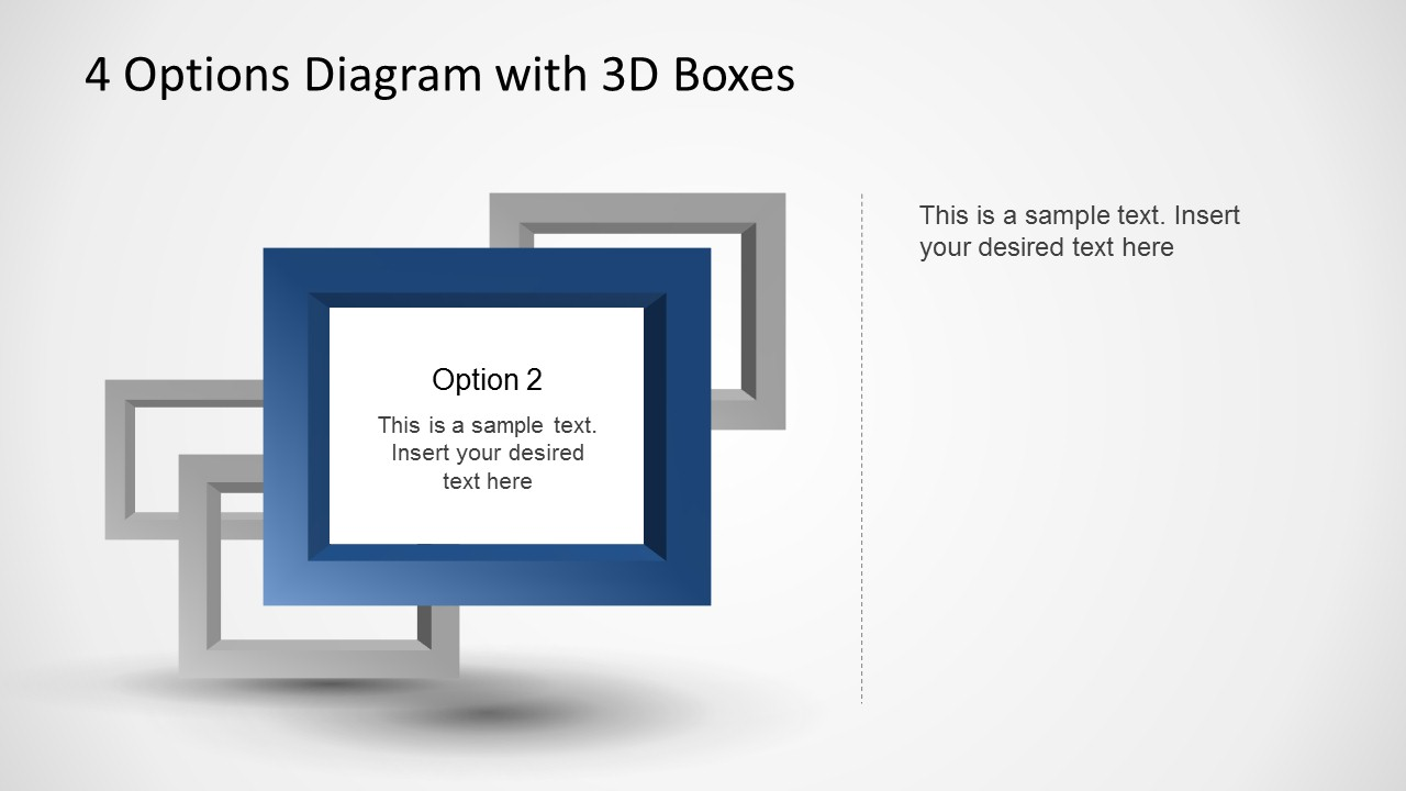 4 Options Diagram Template For Powerpoint With 3d Boxes Slidemodel