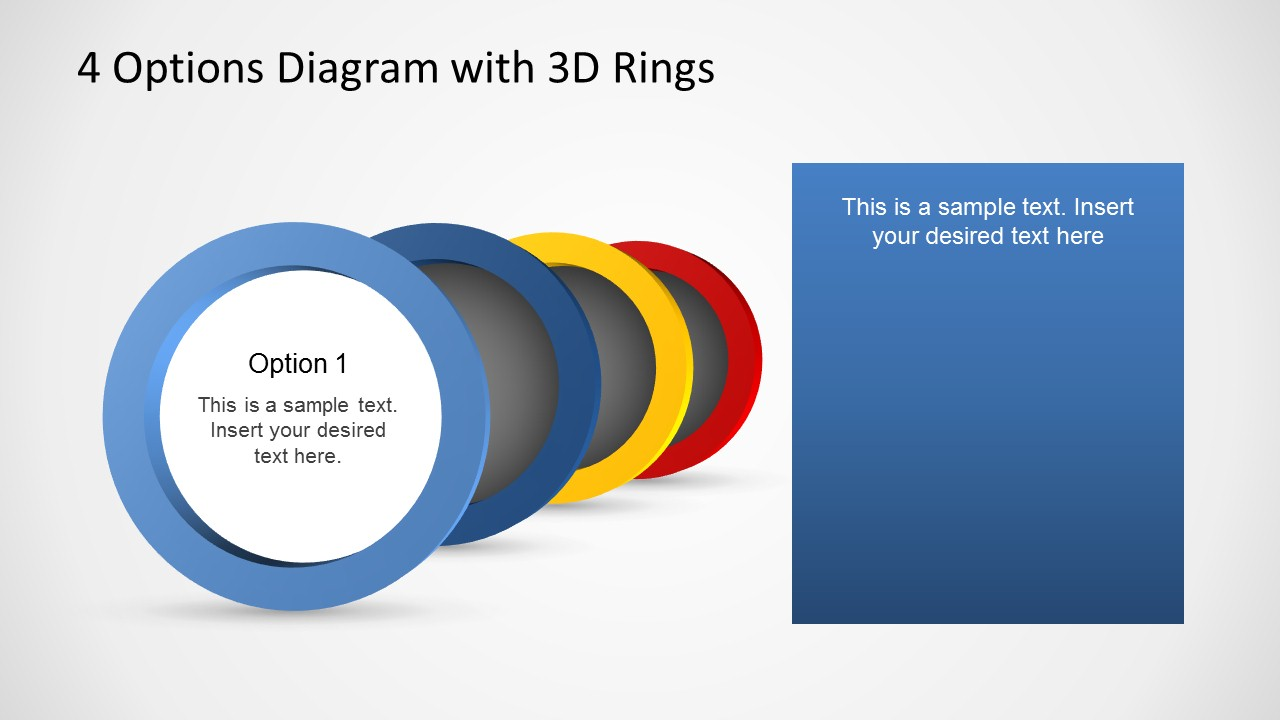 4 Options Diagram Template For Powerpoint With 3d Rings Slidemodel