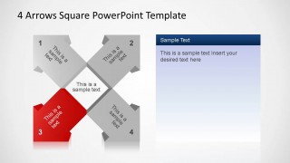 4 Arrows Square PowerPoint Template Third Arrow