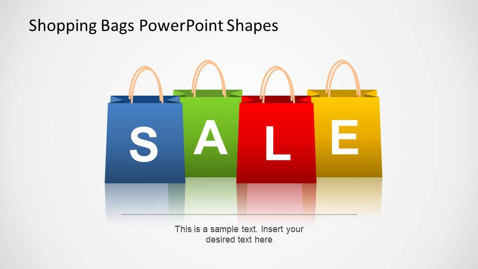 Shopping Bags SALE PowerPoint Shapes Poster