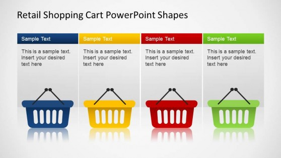 Retail 4 Hand Shopping Cart PowerPoint Shapes