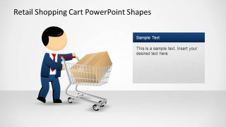 Retail Shopping Cart PowerPoint Shapes with Mike and Package