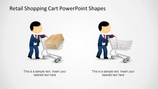 Retail Shopping Cart PowerPoint Shapes Comparing with Mike
