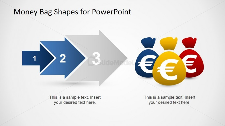 PowerPoint 3 Step Arrow Process Euro Money Bags
